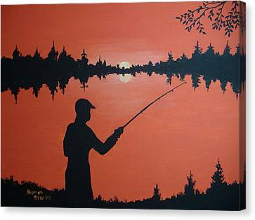 Canvas Print featuring the painting The Golden Hour by Norm Starks