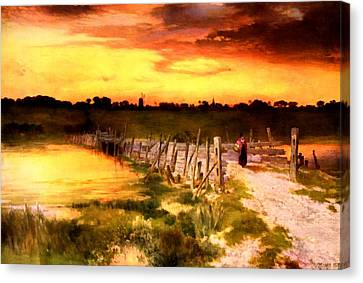 The Golden Hour Canvas Print by Thomas Moran