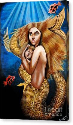 Canvas Print featuring the painting The Golden Mermaid by Saranya Haridasan