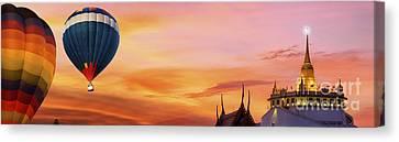 The Golden Mount At Wat Saket Canvas Print by Anek Suwannaphoom