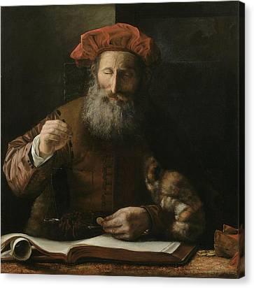 Half-length Canvas Print - The Goldweigher by Karel van der Pluym