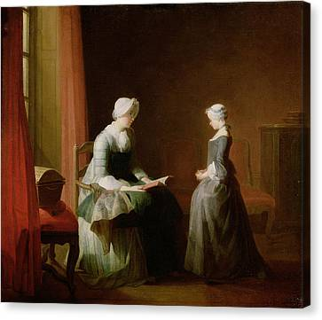 The Good Education, 1753 Oil On Canvas Canvas Print by Jean-Baptiste Simeon Chardin