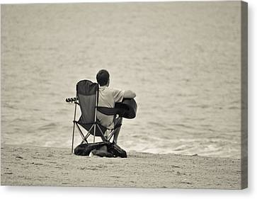 Beach Chair Canvas Print - The Good Life by Trish Tritz
