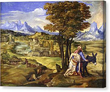 The Good Samaritan Canvas Print by Domenico Campagnola