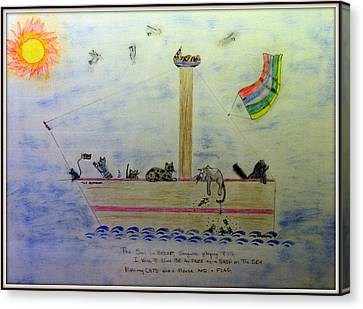 The Good Ship Alexander Sailing With Cats Canvas Print by Kathy Barney