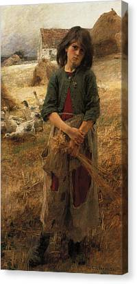 Geese Canvas Print - The Goose Girl Of Mezy by Leon Augustin L hermitte