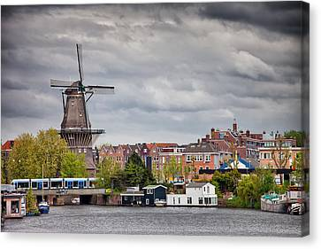 The Gooyer Windmill In The City Of Amsterdam Canvas Print by Artur Bogacki