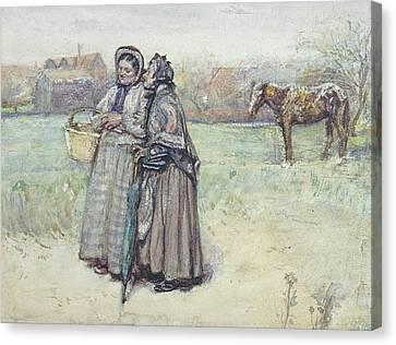 The Gossips  Canvas Print by George John Pinwell