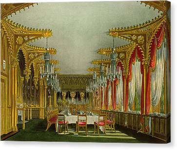 The Gothic Dining Room At Carlton House Canvas Print by Charles Wild