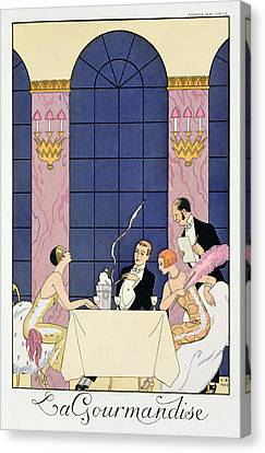 The Gourmands Canvas Print by Georges Barbier