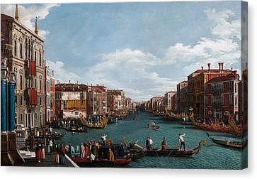 Water Vessels Canvas Print - The Grand Canal At Venice by Antonio Canaletto