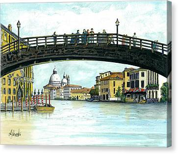 Canvas Print featuring the painting The Grand Canal Venice Italy by Albert Puskaric