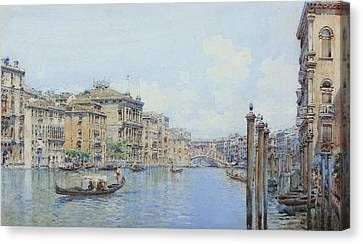 The Grand Canal With A View Of Palace Canvas Print by Gino de Colle