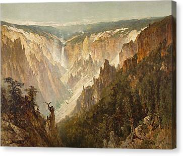 The Grand Canyon Of The Yellowstone Canvas Print by Thomas Hill