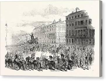 The Grand Procession Of The Wellington Statue Canvas Print