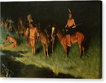 The Grass Fire Canvas Print by Frederic Remington