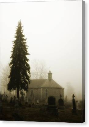 Foggy Day Canvas Print - The Graveyard In The Fog  by Gothicrow Images