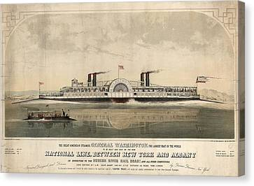The Great American Steamer, General Washington Canvas Print by Litz Collection