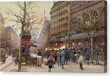 Gathering Canvas Print - The Great Boulevards by Eugene Galien-Laloue