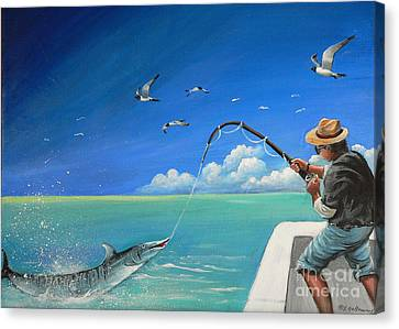 Canvas Print featuring the painting The Great Catch 1 by S G
