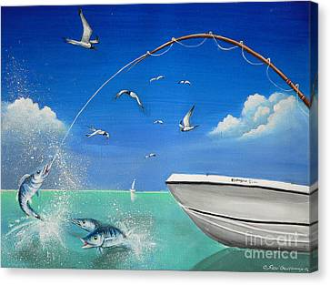 Canvas Print featuring the painting The Great Catch 2 by S G