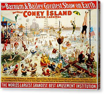 The Great Coney Island Water Carnival Canvas Print by Georgia Fowler