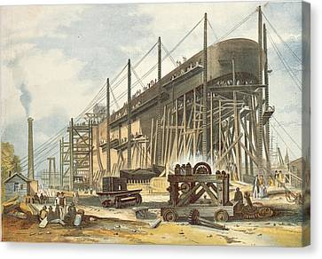 The Great Eastern On The Stocks Colour Engraving Canvas Print