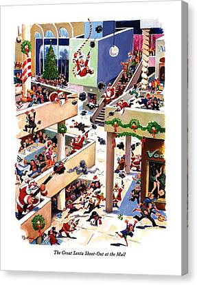 The Great Santa Shoot-out At The Mall Canvas Print by Eldon Dedini