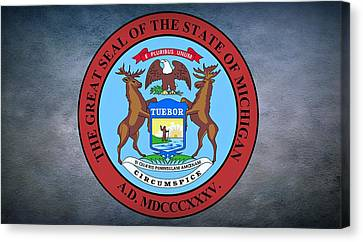 The Great Seal Of The State Of Michigan  Canvas Print by Movie Poster Prints