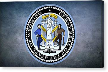 The Great Seal Of The State Of Wyoming Canvas Print by Movie Poster Prints