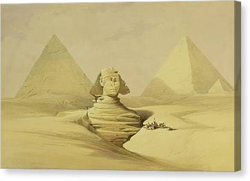 The Great Sphinx And The Pyramids Of Giza Canvas Print by David Roberts