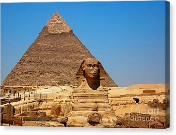 Canvas Print featuring the photograph The Great Sphinx Of Giza And Pyramid Of Khafre by Joe  Ng