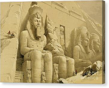 Statue Of David Canvas Print - The Great Temple Of Abu Simbel by David Roberts