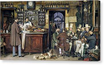 The Greek Cafe In Rome Canvas Print by Ludwig Passini