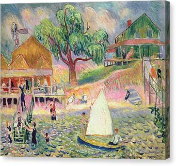 The Green Beach Cottage Canvas Print by William James Glackens