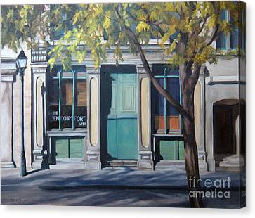 The Green Door  Old Montreal Canvas Print by Rita-Anne Piquet