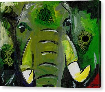 The Green Elephant In The Room Canvas Print