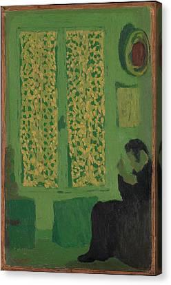 The Green Interior Figure Seated Canvas Print by �douard Vuillard