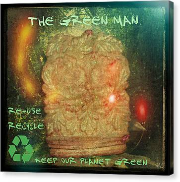 Canvas Print featuring the photograph The Green Man - Recycle by Absinthe Art By Michelle LeAnn Scott