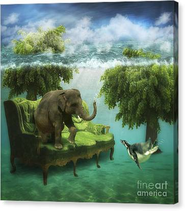 Surreal Art Canvas Print - The Green Room by Martine Roch