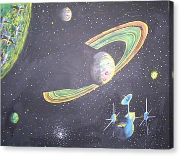 Canvas Print featuring the painting The Green Solar System by Douglas Beatenhead