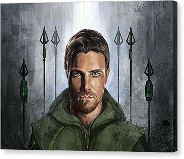 Canvas Print featuring the digital art The Green Vigilante  by Steve Goad