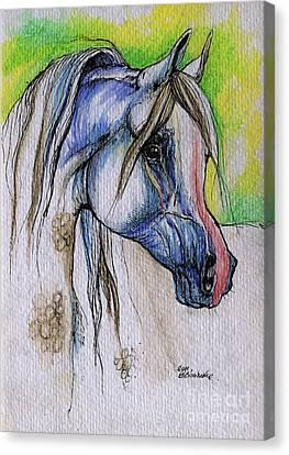 The Grey Arabian Horse 6 Canvas Print by Angel  Tarantella