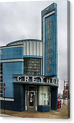 Old Bus Stations Canvas Print - The Greyhound Bus Station by Julie Dant