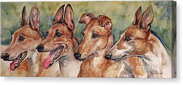 Greyhound Canvas Print - The Greyhounds by Maria's Watercolor