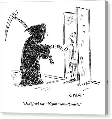 Grim Reaper Canvas Print - The Grim Reaper Is Seen Giving A Piece Of Paper by David Sipress