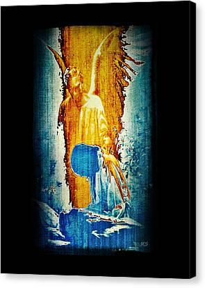 Canvas Print featuring the digital art The Guardian Angel by Absinthe Art By Michelle LeAnn Scott