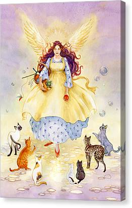 The Guardian Angel Of Cats Canvas Print by Janet Chui