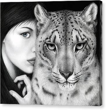 Snow Leopards Canvas Print - The Guardian by Pat Erickson