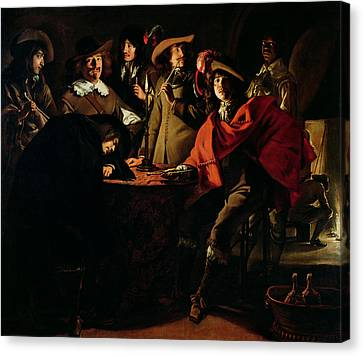 The Guards Smoking, 1643 Oil On Canvas Canvas Print